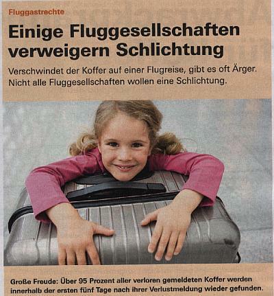 Fluggastrechte in der Finanztext mit Rimowa Koffer