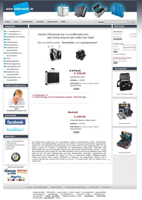 Onlineshop koffermarkt altes Design